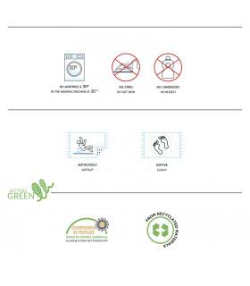 CORN 3- Tappeto da bagno 100% microfibra super soffice, assorbente e antiscivolo. etichetta