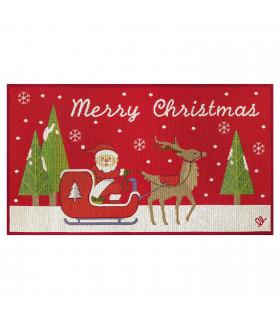 NOEL, Babbo sulla slitta - Tappeto da interno e esterno in fantasia di Natale