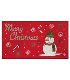 NOEL, Pupazzo di neve - Tappeto da interno e esterno in fantasia di Natale