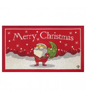 NOEL, Babbo che saluta - Tappeto da interno e esterno in fantasia di Natale