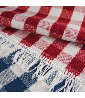 MATRIX - Red 100% cotton kitchen rug in check pattern detail red