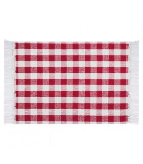 MATRIX – Rosso tappeto da cucina 100% cotone in fantasia a quadretti