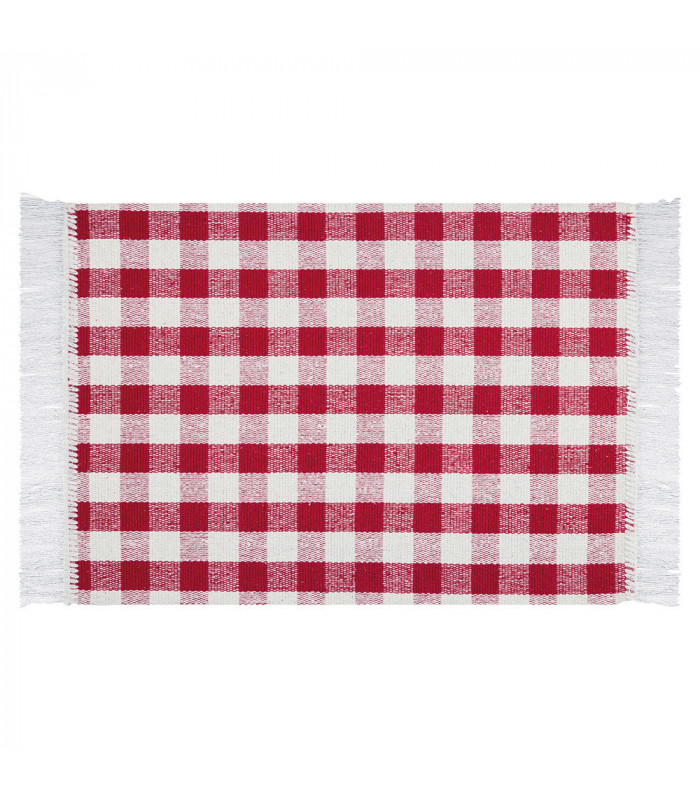 Matrix Red 100 Cotton Kitchen Rug In Gingham Pattern Mats Olivo Shop By Group
