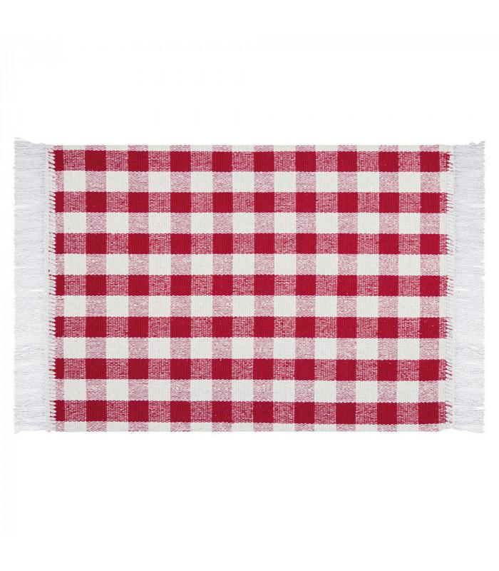 MATRIX - Red 100% cotton kitchen rug in check pattern