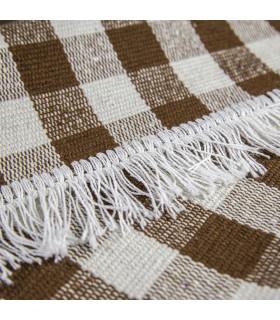 MATRIX - Brown 100% cotton kitchen rug in gingham pattern detail