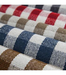 MATRIX - Brown 100% cotton kitchen rug in gingham pattern detail mix