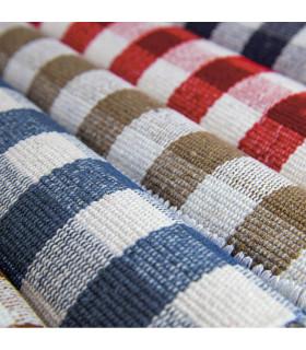 MATRIX - blue 100% cotton kitchen rug in gingham pattern detail mix