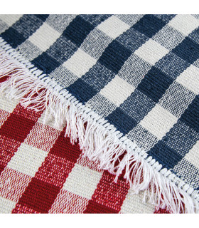 MATRIX - Blue 100% cotton kitchen rug in gingham pattern detail
