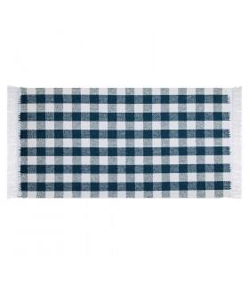 MATRIX blu – tappeto da cucina 100% cotone in fantasia a quadretti
