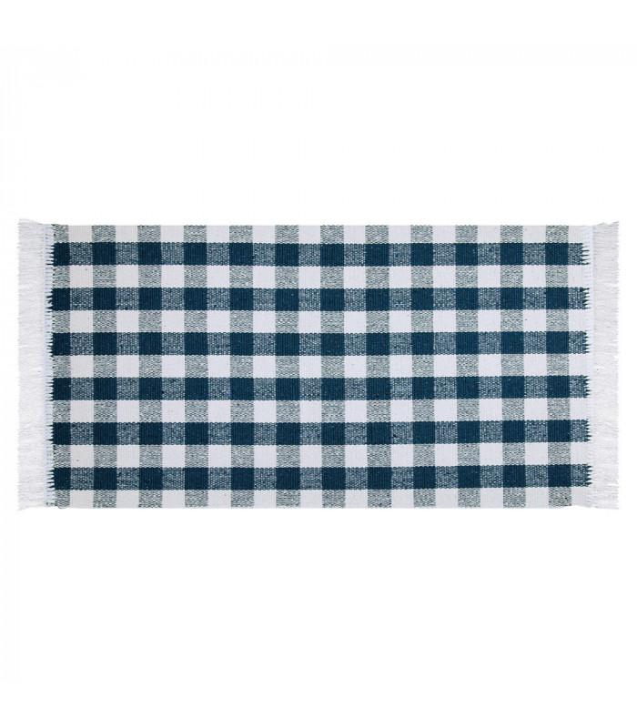 MATRIX - Blue 100% cotton kitchen rug in gingham pattern
