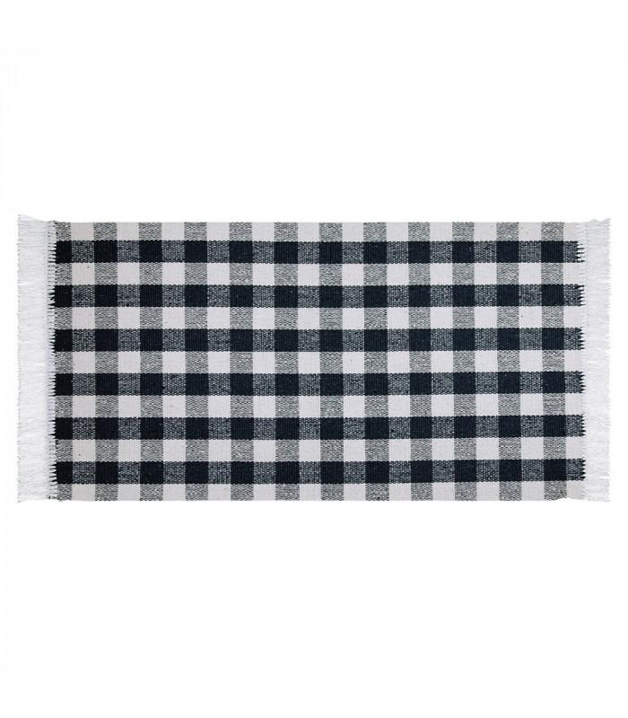 MATRIX - Black 100% cotton kitchen rug in gingham pattern