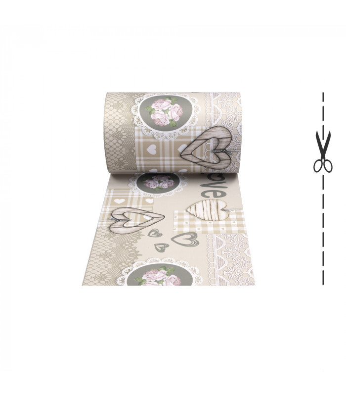 JOKE 3 - Shabby, printed anti-slip rug, custom kitchen lane