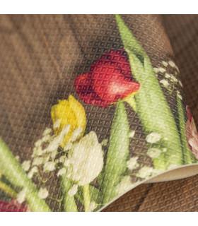 DECOR Garden - Stain-resistant carpet, non-slip kitchen runner red yellow detail