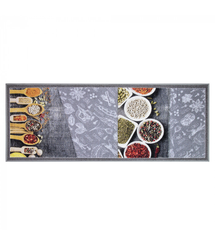 NEW SMILE Modern Spices - Anti-slip kitchen rug with spice pattern