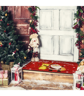 Christmas doormat - Reindeer and Santa, Christmas themed welcome carpet in coconut ambient