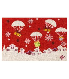 Christmas Zerbino - Regali paracadute, tappeto di benvenuto in tema Natalizio in cocco