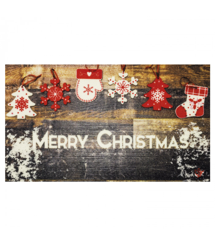 CHRISTMAS PARTY - Wood Decorations, non-slip Christmas mat for indoor and outdoor