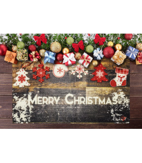 CHRISTMAS PARTY - Wood Decorations, non-slip Christmas mat for indoor and outdoor ambient