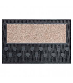 TULIP - Doormat 45x75 cm molded PVC and synthetic carpet beige