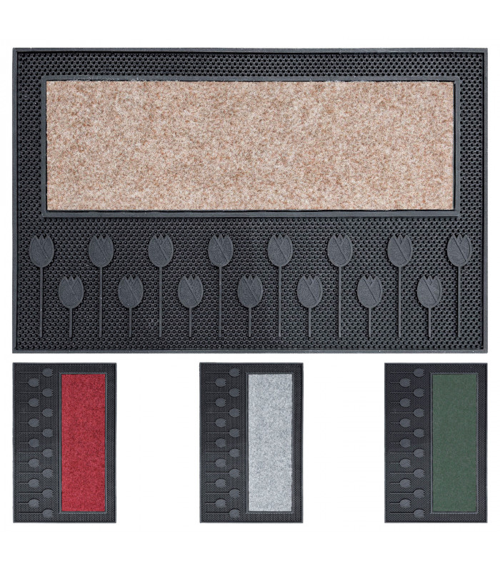 TULIP - Doormat 45x75 cm molded PVC and synthetic carpet showcase image
