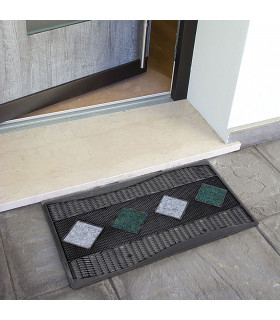Quadro - Doormat 45x70 cm geometric pattern in rubber and carpet grey ambient