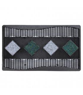 Quadro - Doormat 45x70 cm geometric pattern in rubber and carpet grey