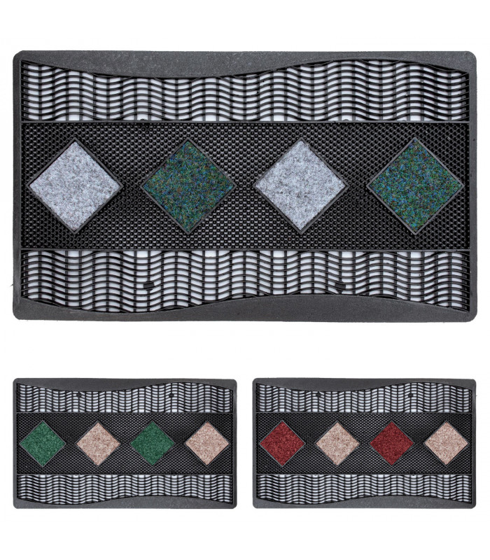 Quadro - Doormat 45x70 cm geometric pattern in rubber and carpet