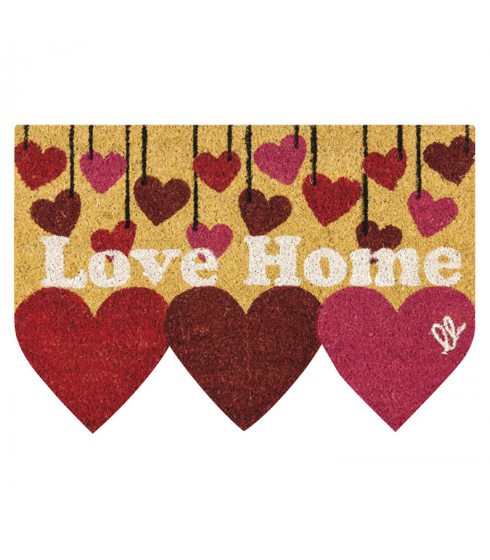 SHAPE - Hearts, colored doormat, in coconut fiber with contoured edge 40x60