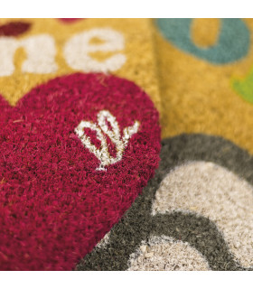 SHAPE - Hearts, colored doormat, in coconut fiber with contoured edge 40x60 logo detail