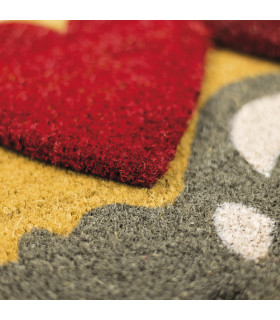 SHAPE - Hearts, colored doormat, in coconut fiber with contoured edge 40x60 detail