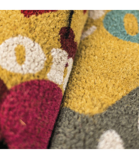 SHAPE - Hearts, colored doormat, in coconut fiber with contoured edge 40x60 print detail