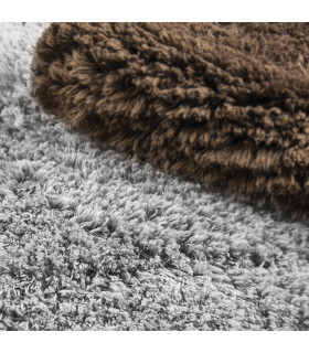 ELIXIR RECTANGULAR - Bath mat in extra soft microfibre and rubber bottom brown and grey detail