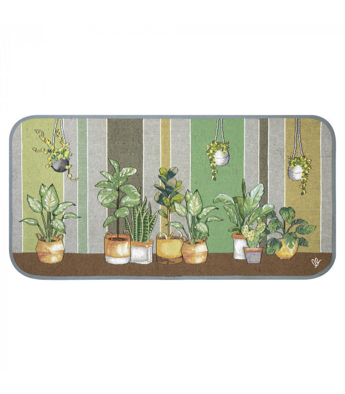 SECOND QUEEN - Plants green, non-slip mat kitchen, assorted sizes