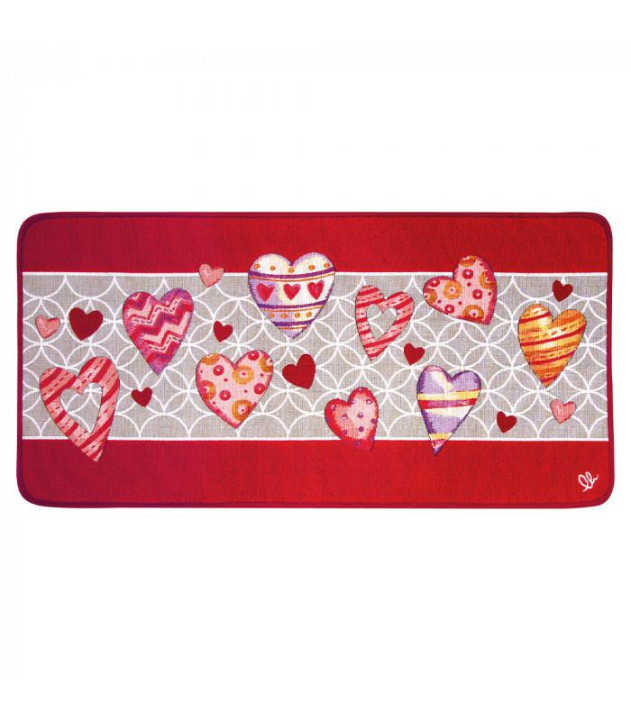 QUEEN SECOND - Love red, Tappeto da cucina antiscivolo, misure assortite