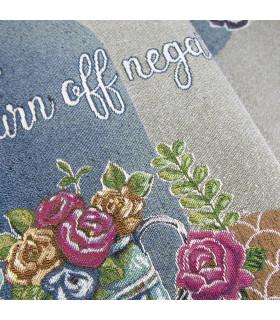 QUEEN SECOND - Flowers blue, Tappeto da cucina antiscivolo, misure assortite dettaglio