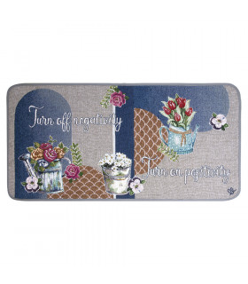 QUEEN SECOND - Flowers blue, Tappeto da cucina antiscivolo, misure assortite