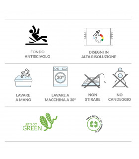 SECOND QUEEN - Plants green, non-slip mat kitchen, assorted sizes label
