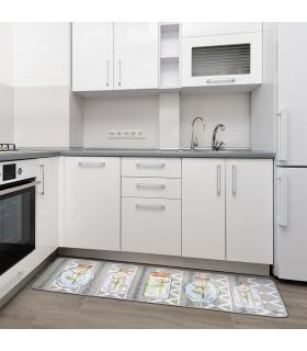 QUEEN SECOND - Vase grey, Tappeto da cucina antiscivolo, misure assortite ambientata