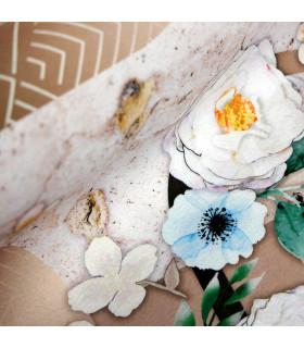 MIAMI FLOWERS BROWN - non-slip kitchen rug various sizes - detail