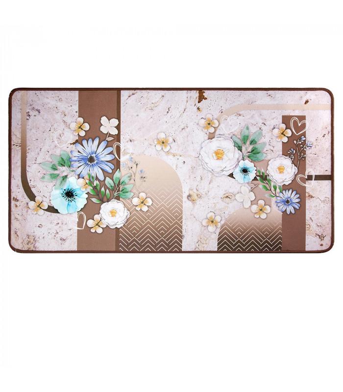 MIAMI FLOWERS BROWN - non-slip kitchen rug various sizes