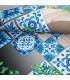 MIAMI MAJOLICA BLUE - non-slip kitchen rug various sizes - detail