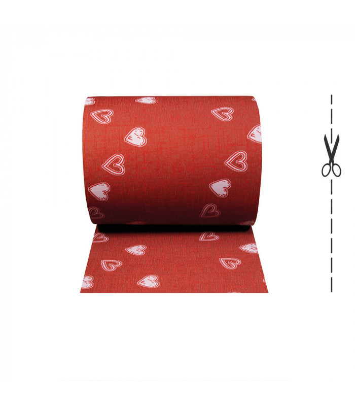 LIBERTY 2 - RED HEARTS Custom non-slip multi-purpose kitchen rug - roll