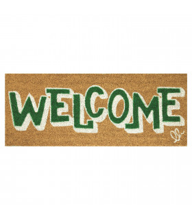 ENTRY - WELCOME BOLD Non-slip doormat in natural coconut fiber with water resistant prints 27x70 cm - green