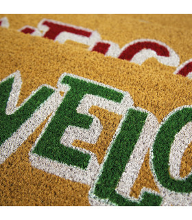 ENTRY - WELCOME BOLD Non-slip doormat in natural coconut fiber with water resistant prints 27x70 cm - detail