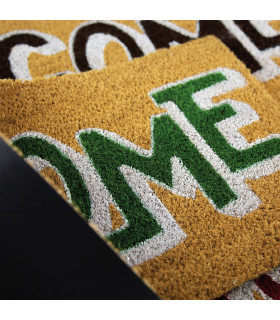 ENTRY - WELCOME BOLD Non-slip doormat in natural coconut fiber with water resistant prints 27x70 cm - particular