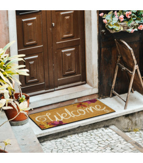 ENTRY - WELCOME TROPICAL Non-slip doormat in natural coconut fiber with water resistant prints 27x70 cm - white