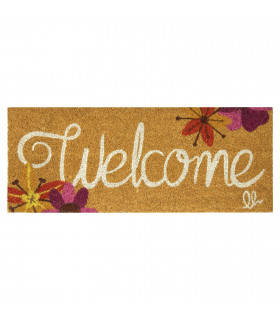 ENTRY - WELCOME TROPICAL Non-slip doormat in natural coconut fiber with water resistant prints 27x70 cm