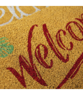 ENTRY - WELCOME TROPICAL Non-slip doormat in natural coconut fiber with water resistant prints 27x70 cm - detail