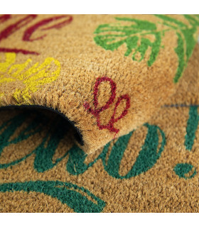 ENTRY - HELLO Non-slip doormat in natural coconut fiber with water resistant prints 27x70 cm - detail