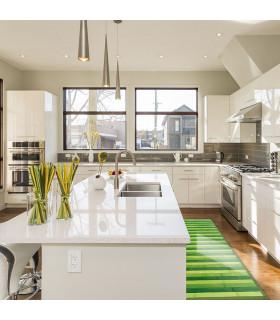 BAMBOO - Verde, tappeto antiscivolo per la cucina, passatoia di bamboo effetto degradè - ambientata